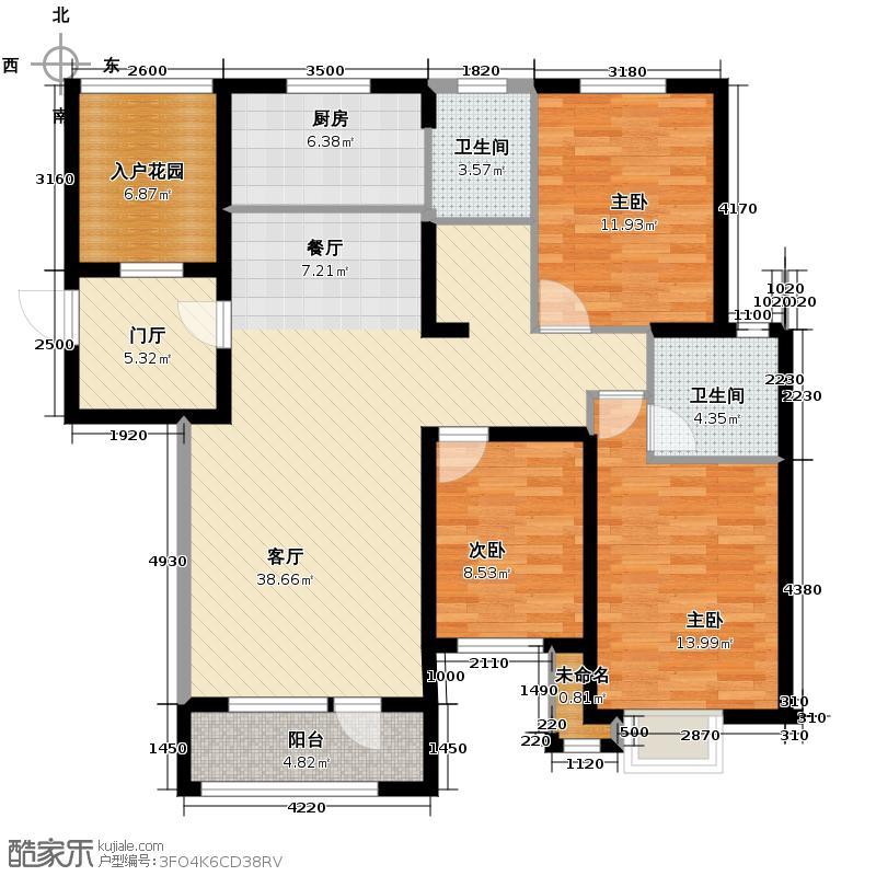 名流印象144.32㎡3#F-1户型3室2厅2卫