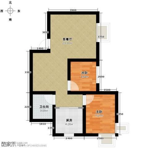 鼎盛国际2室2厅1卫0厨75.00㎡户型图