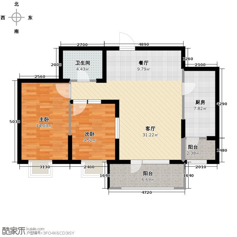 名流印象99.72㎡12#C-3户型2室2厅1卫