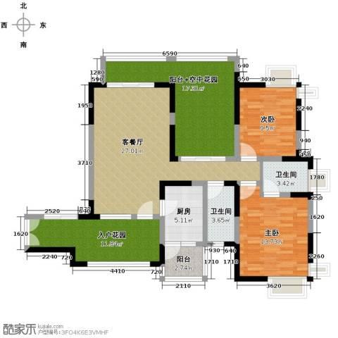 新世纪星城三期2室1厅2卫1厨137.00㎡户型图