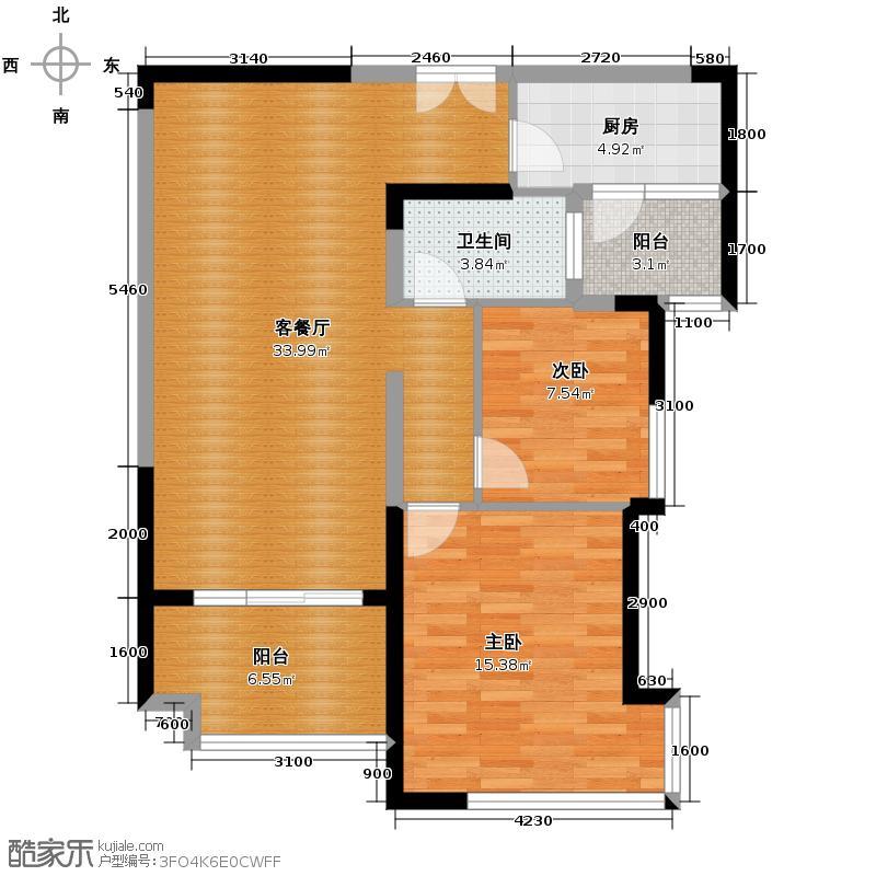 龙光水悦龙湾85.80㎡2号楼户型2室2厅2卫