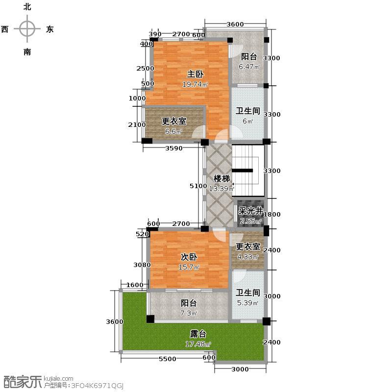人信太子湾257.00㎡A1-2中间单元二层户型2室2卫