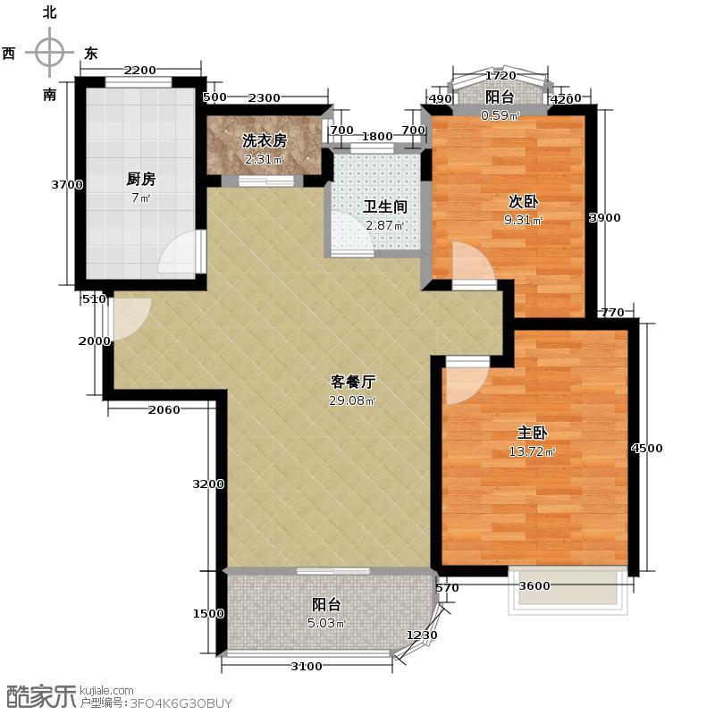 外海中央花园92.73㎡A3户型2室2厅1卫