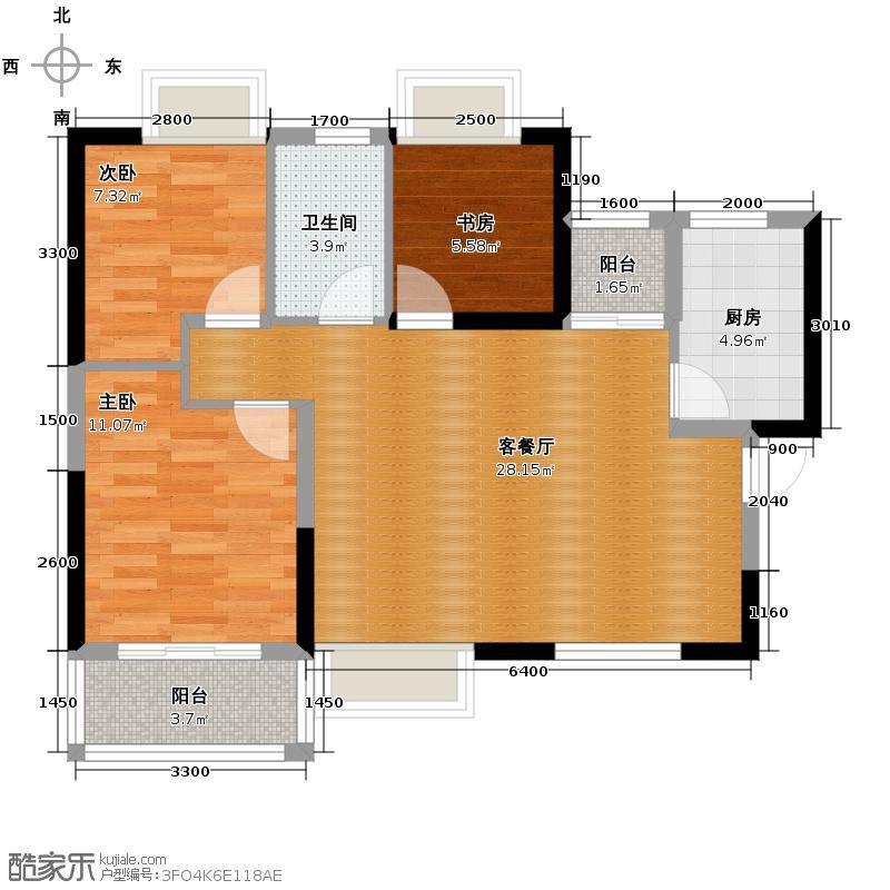 广电兰亭都荟93.00㎡2号楼1单元03户型3室2厅1卫