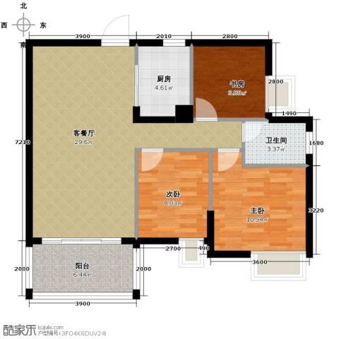 尚品雅居3室1厅1卫1厨78.98㎡户型图