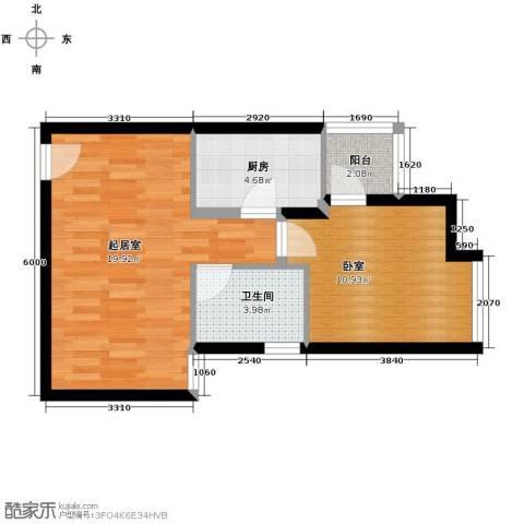 西荷丰润国际公寓1卫1厨68.00㎡户型图