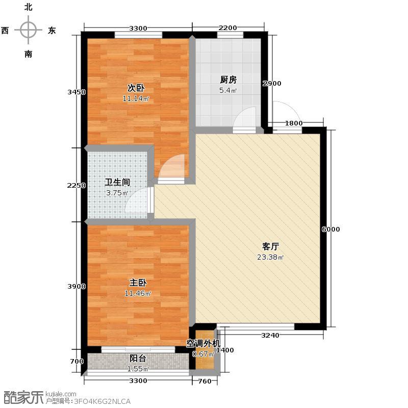水润年华83.54㎡E户型2室2厅1卫