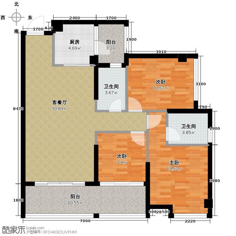东凌广场109.00㎡A3栋01单元户型3室2厅2卫