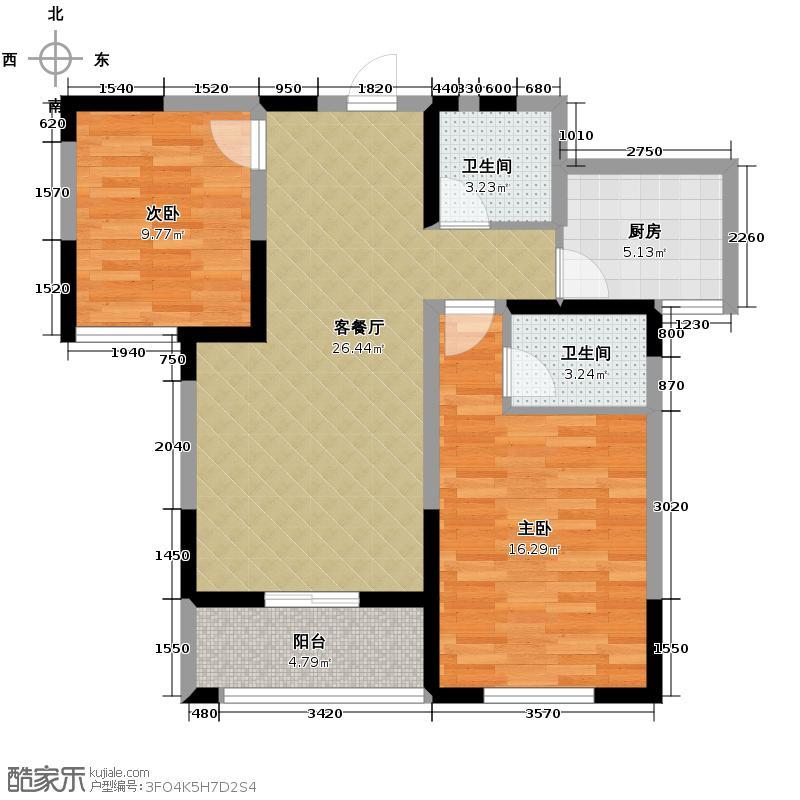 明林庭苑93.24㎡M户型1室2厅2卫