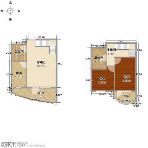 山海同湾2室1厅2卫0厨90.00㎡户型图