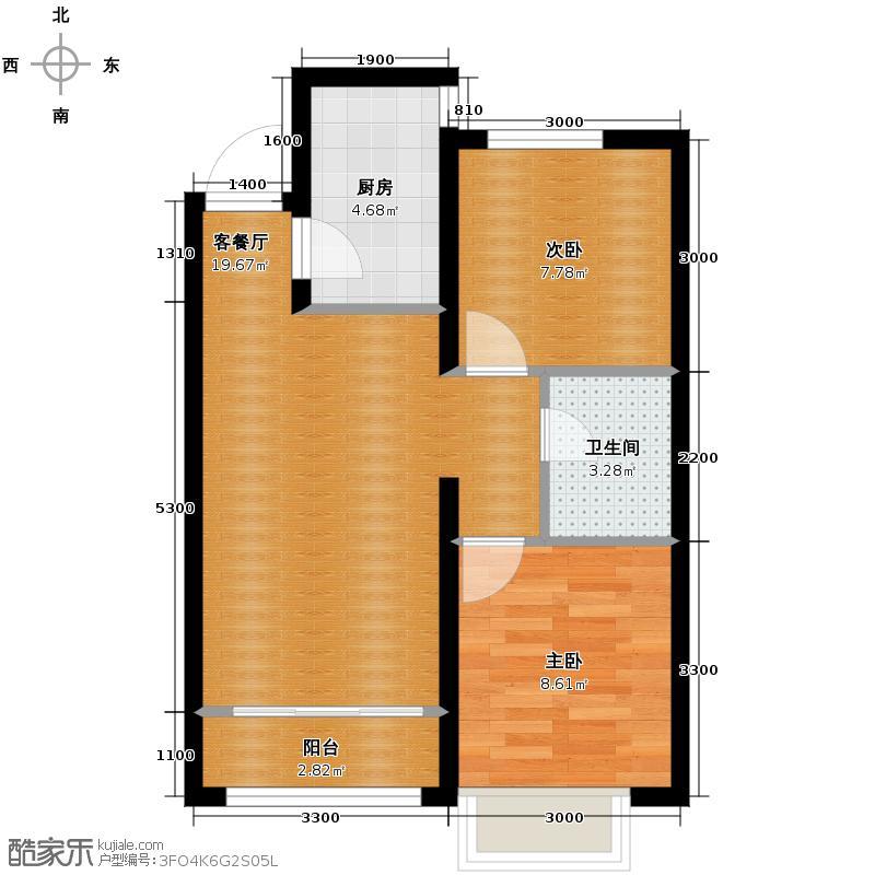 万城69.25㎡高层A户型2室2厅1卫
