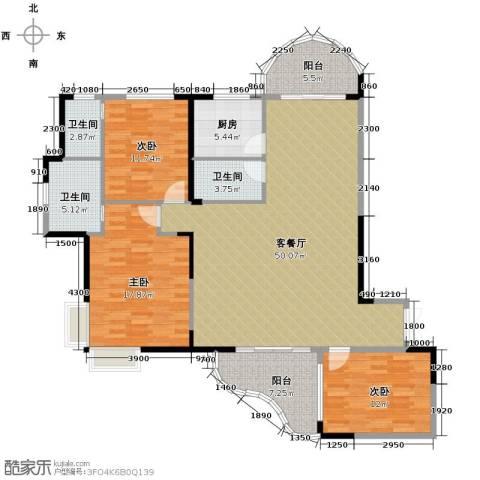 湘隆时代大公馆3室1厅3卫1厨167.00㎡户型图
