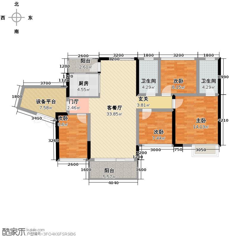 汇龙湾花园105.00㎡2+户型4室2厅2卫