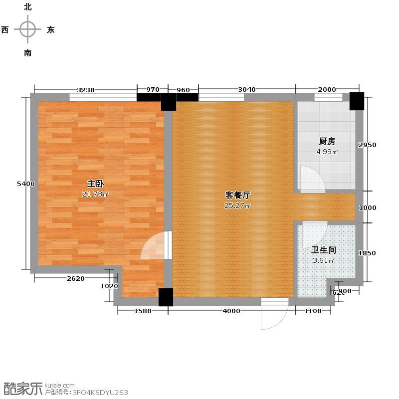 耕海广场83.23㎡户型1室2厅1卫
