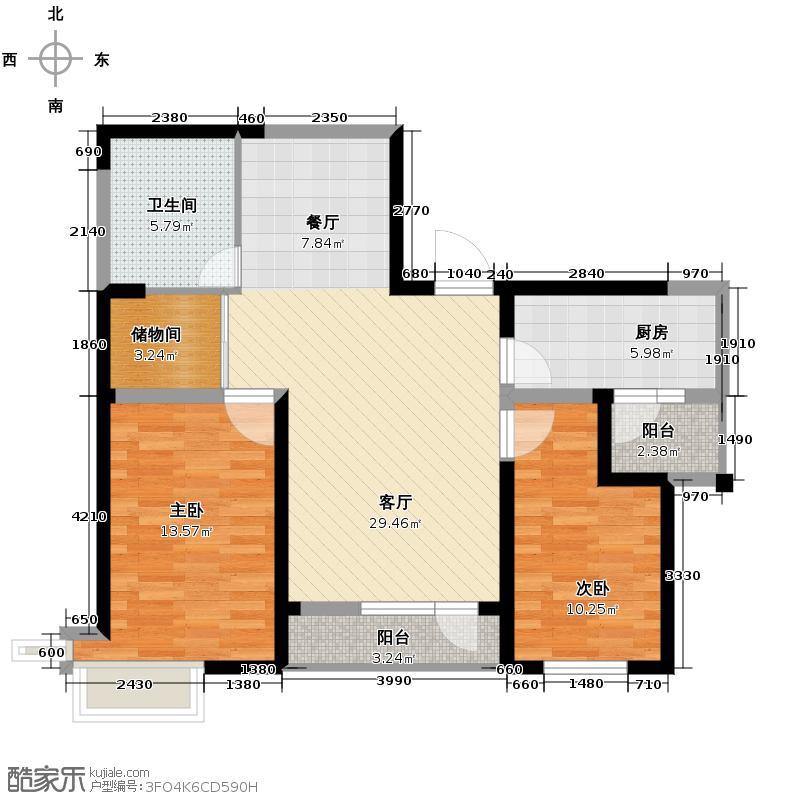 名流印象98.00㎡12号楼b户型2室2厅1卫