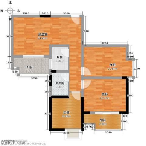 梦泽园美美公馆3室2厅1卫0厨99.00㎡户型图