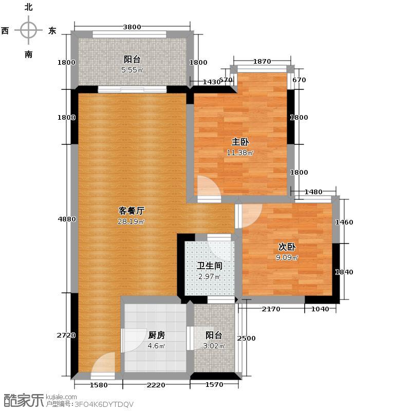 兆甲合阳新城68.74㎡二号楼标准层A1-4、B2-1号房户型2室2厅1卫