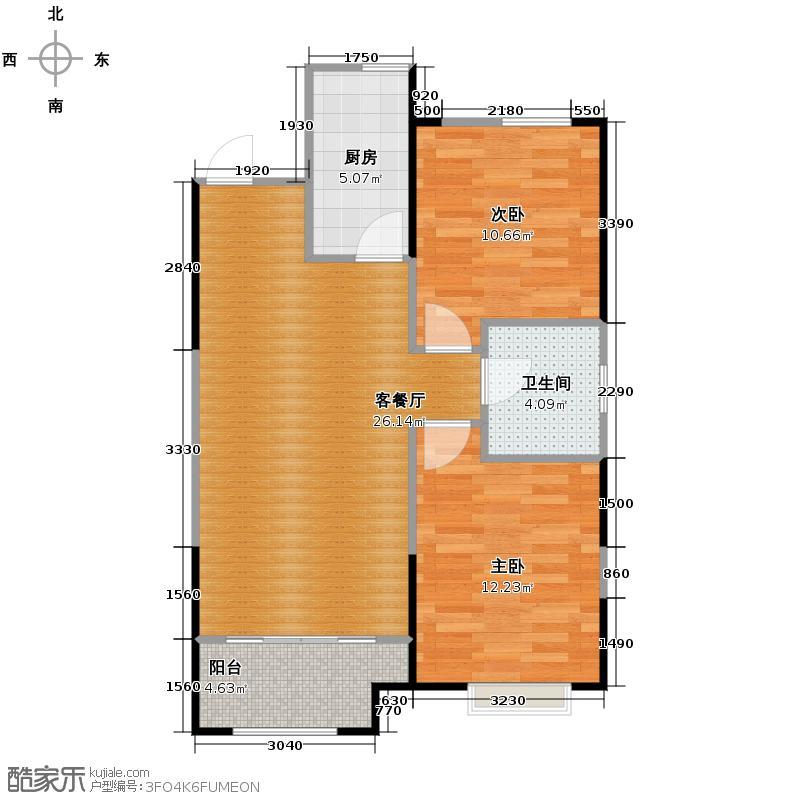 华润・中央公园90.00㎡户型2室2厅1卫