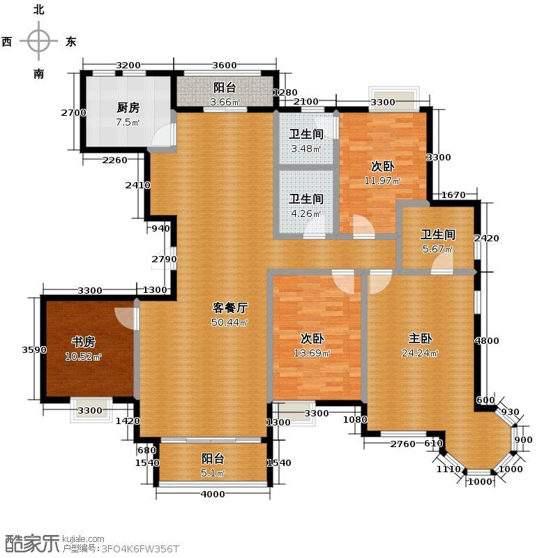 外海中央花园184.78㎡B3户型4室2厅3卫