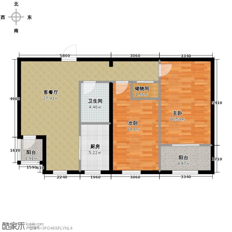 盛世家园125.00㎡6号楼F户型3室2厅1卫