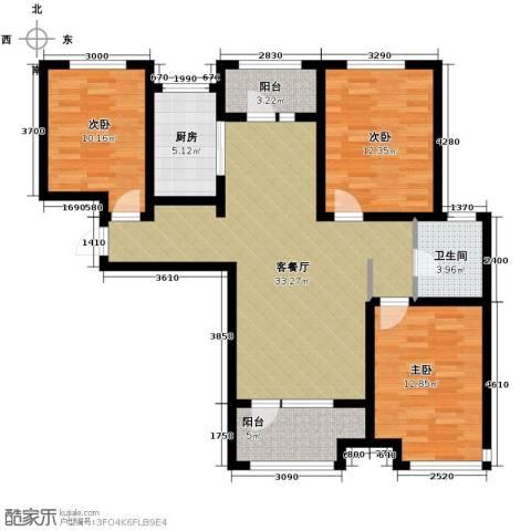 永定河孔雀城剑桥郡3室1厅1卫1厨125.00㎡户型图