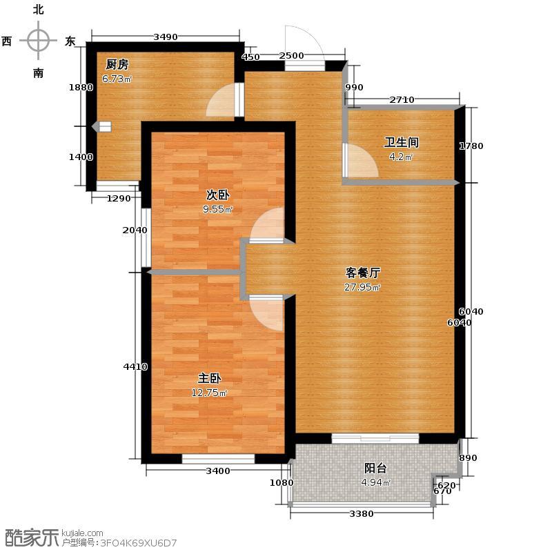东景苑95.90㎡5号楼C4户型2室2厅1卫