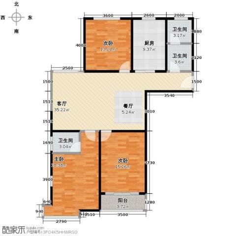 兴源家园3室1厅3卫1厨144.00㎡户型图