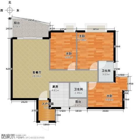 三正世纪豪庭3室1厅2卫1厨113.00㎡户型图