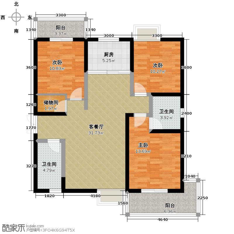 瑞泰卡地亚134.95㎡4号楼C户型3室2厅2卫
