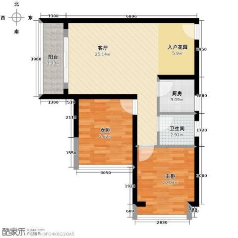 菁英时代2室1厅1卫1厨84.00㎡户型图