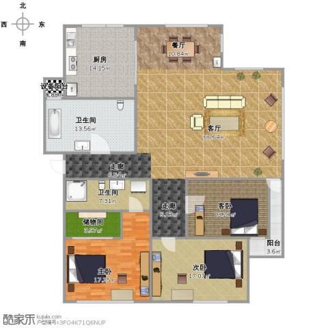 春江花月3室1厅2卫1厨209.00㎡户型图