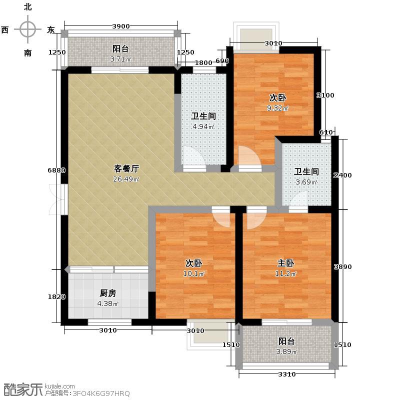 瑞泰卡地亚118.88㎡1/2号楼(5-32层)B主客厅双观景阳台南北明亮通透户型10室