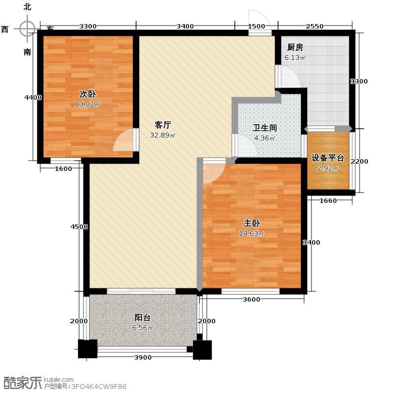 金域三江90.67㎡H奇数层户型2室1厅1卫1厨