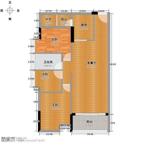 大步海滨花园3室2厅1卫0厨96.00㎡户型图