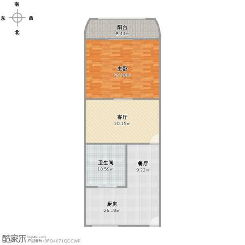 长海四村1室1厅1卫1厨123.00㎡户型图