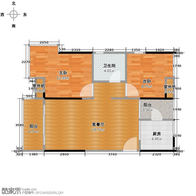 中惠璧珑湾76.00㎡6、8号楼标准层户型2室2厅1卫
