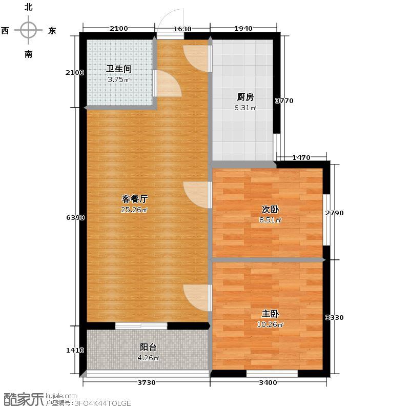 汇锦城93.00㎡领秀城3#1单元02-C2室户型2室1厅1卫1厨