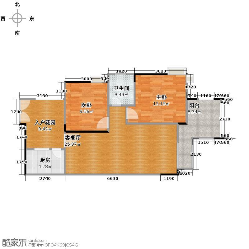 皓晖香雨蓝苑67.80㎡11、12号楼F4户型2室2厅1卫