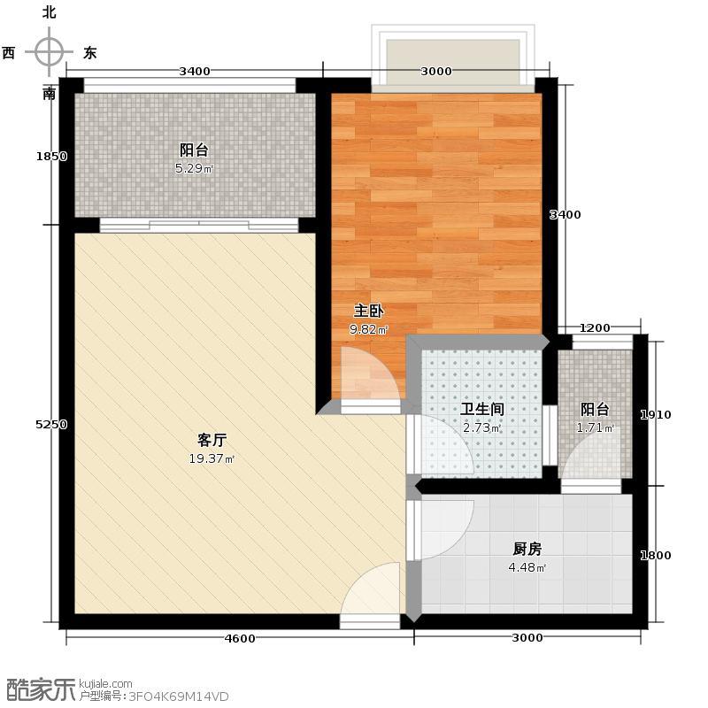 东原D7区45.73㎡2#6号楼A户型1室1厅1卫