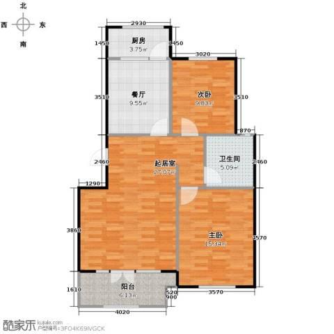 宝境栖园2室2厅1卫0厨88.00㎡户型图