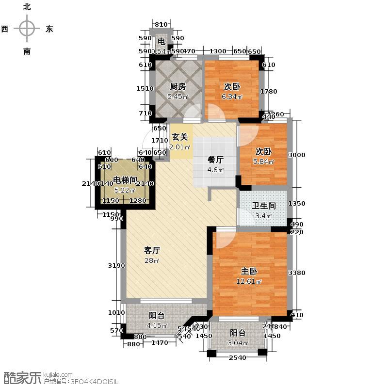 融科瑷骊山89.00㎡23号楼户型3室1厅1卫1厨