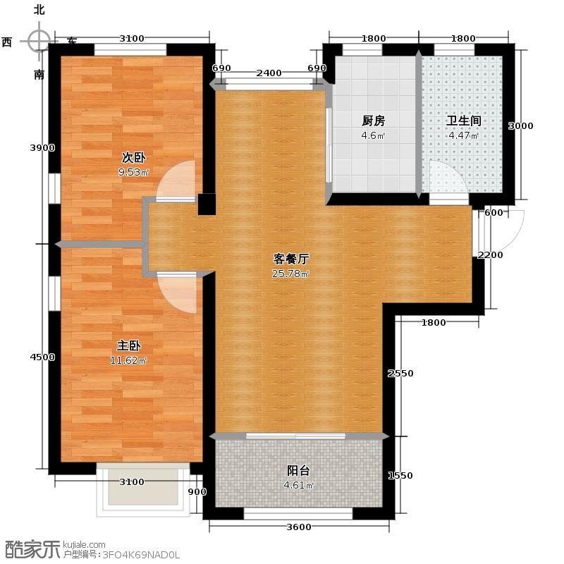 六湾69.03㎡J户型2室1厅1卫1厨