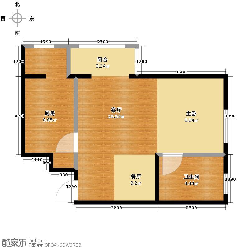 润枫领尚55.00㎡A1户型1室2厅1卫