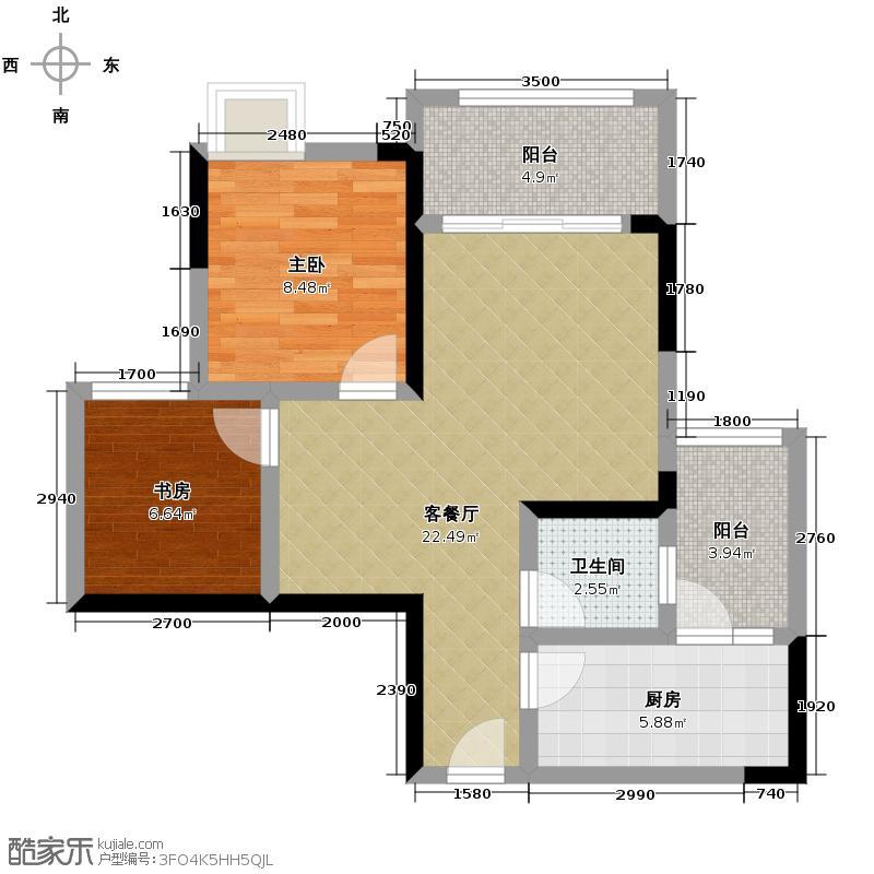 金科廊桥水乡75.34㎡天都小公馆B2层高29米户型2室2厅1卫