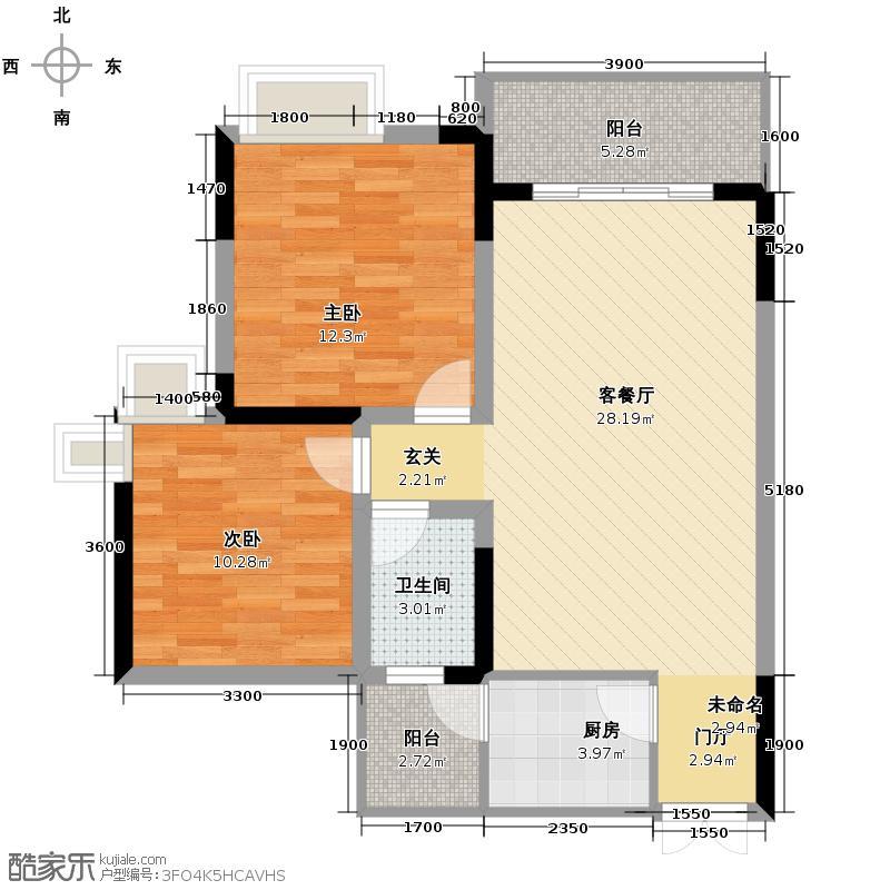 春风与湖69.54㎡E1双阳台户型2室2厅1卫