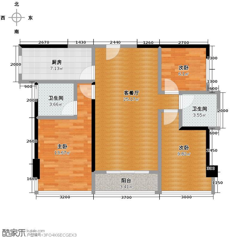 盛天领域|云中心88.00㎡8#楼A41单元02号房2单元05号房户型3室2厅2卫