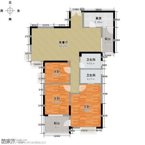 湘隆时代大公馆3室1厅2卫1厨139.00㎡户型图