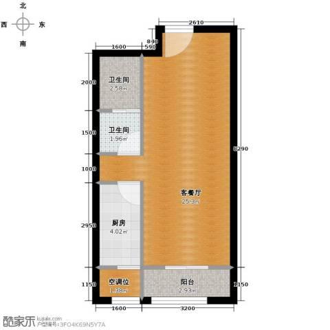 柒麟湾1室1厅1卫0厨54.00㎡户型图