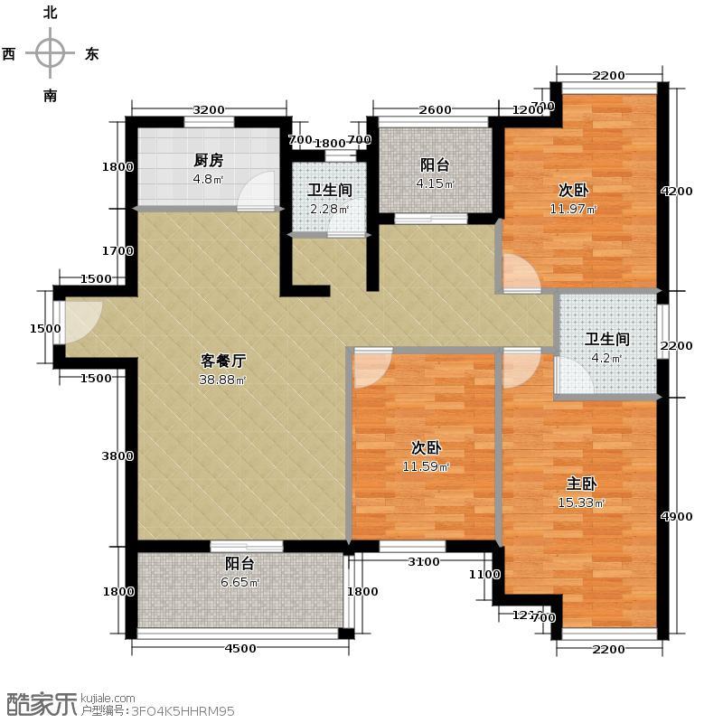 富强天合园133.55㎡B3户型3室3厅2卫