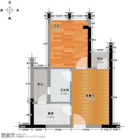 星河盛世1室1厅1卫1厨47.00㎡户型图